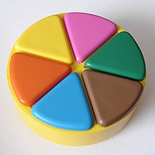 Trivial Pursuit playing piece, with all six wedges filled