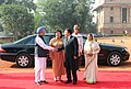 Tsakhiagiin Elbegdorj and his wife Mrs. Bolormaa Khajidsuren being welcomed by the President, Smt. Pratibha Devisingh Patil and the Prime Minister, Dr. Manmohan Singh at the ceremonial reception at Rashtrapati Bhavan (1).jpg