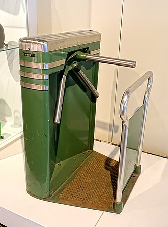 John Vassos - Turnstile by John Vassos, produced by Perey Turnstiles, United States, c. 1932, iron, enamel, chrome-plated metal - Montreal Museum of Fine Arts - Montreal, Canada