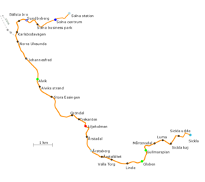 Tvärbanan - Geographically accurate map of the system.