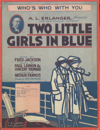 Two Little Girls in Blue - Original sheet music cover