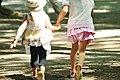 Two children at Showa Kinen Park, Japan; July 2010.jpg