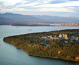 Luchtfoto van de campus in Vancouver (Point Grey)