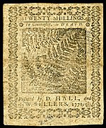Pennsylvania colonial currency, 20 shilling, 1771 (reverse)