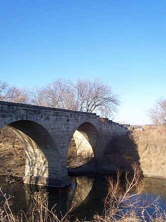 Cottonwood River (Kansas) - 1886 Clements Stone Arch Bridge over Cottonwood River near Clements (2006)