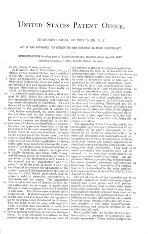 Telharmonium - Patent 580035 was filed by Cahill for the Telharmonium in 1896