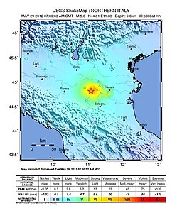 USGS Shake Map for the May 29 Emilia earthquake - 2012 Northern Italy earthquake.jpg