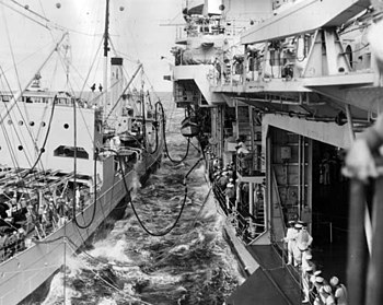 USS Brazos (AO-4) refueling USS Yorktown (CV-5) 1940