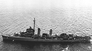 USS Frankford (DD-497) at anchor off New York on 19 June 1945