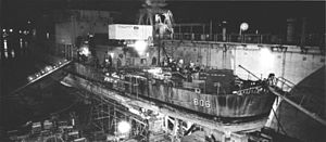 USS Higbee - Higbee under repair at Subic bay following her bomb hit