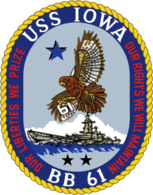 "Seal of the Battleship USS Iowa (BB-61), featuring a blue and gold trim around a small image of the battleship and an eagle in the air. The words ""USS Iowa"" and ""BB 61"" can be seen at the top and bottom of the circle, while the left and right of the circle contain the words ""our liberties we prize"" and ""our right we will defend"", respectively."