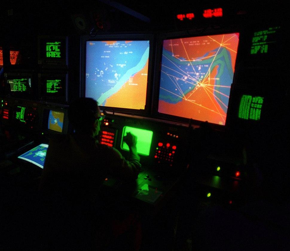 USS John S. McCain (DDG-56) Aegis large screen displays