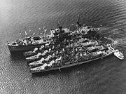 USS Klondike (AR-22), USS Taussig (DD-746), USS John A. Bole (DD-755), USS Lofberg (DD-759) and USS John W. Thomason (DD-760) at Subic Bay on 1 November 1963 (NH 82517)