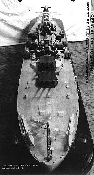 Montana-class battleship - Stern view of a Montana-class battleship model, showing the catapults and tail crane for launching and recovery of floatplanes.