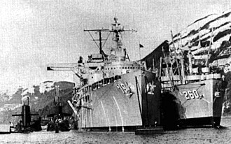 USS Betelgeuse (AK-260) - USS Proteus (AS-19) and USS Betelgeuse (AK-260) with subs at Holy Loch c1962