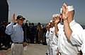 US Navy 040520-N-7586B-398 Secretary of the Navy, Gordon R. England takes an opportunity to administer the Oath of Enlistment for several Sailors assigned to the guided missile cruiser USS Yorktown (CG 48).jpg
