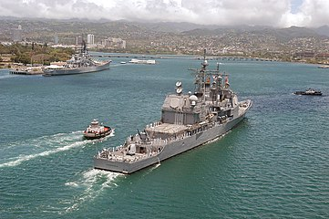 US Navy 050415-N-8157F-106 The guided-missile cruiser USS Vincennes (CG 49) heads toward the entrance of Pearl Harbor.jpg