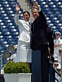 US Navy 050527-N-9693M-025 President of the United State, George W. Bush waves to the parents of Midshipman Shannon Lynne Bailey, left, moments prior to receiving her degree in Oceanography from the U.S. Naval Academy.jpg