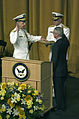 US Navy 050722-N-0295M-002 Secretary of the Navy Gordon England administers the Oath of Office to Adm. Mike Mullen.jpg