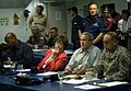 US Navy 050920-N-6204K-010 President George W. Bush receives a brief in the wardroom aboard the amphibious assault ship USS Iwo Jima (LHD 7) during his third visit to the ship.jpg