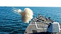 US Navy 070111-N-4515N-429 Guided missile destroyer USS Forest Sherman (DDG 98) test fires its five-inch gun on the bow of the ship during training.jpg