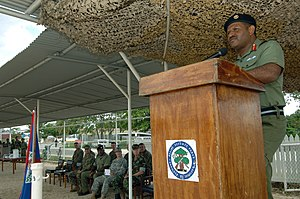 Belize Defence Force - Brig. Gen. Lloyd Gillett, addresses soldiers at a ceremony marking the completion of training with the U.S. Marine Corps