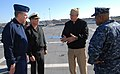 US Navy 101117-N-6764G-117 Vice Adm. Daniel P. Holloway, center, commander of U.S. 2nd Fleet, speaks to Vice Adm. Robert C. Parker, left.jpg
