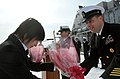 US Navy 120214-N-MU720-009 Lt. Cmdr. Suzanne Schang, commanding officer of the mine countermeasure ship USS Patriot (MCM 7) and Command Master Chie.jpg