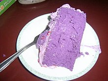 piece of cake made with purple yam