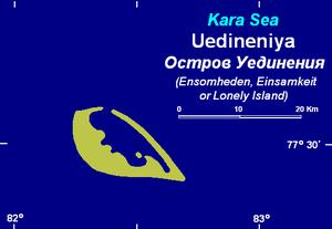 Uyedineniya Island - Map of Uyedineniya