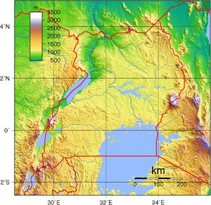 Geography of Uganda - A topographic map of Uganda.