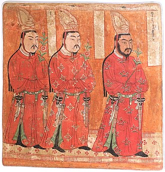 Uyghurs - Uyghur princes from Cave 9 of the Bezeklik Thousand Buddha Caves, Xinjiang, China, 8th–9th century AD, wall painting