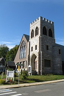 Unitarian Universalist Church of Medford and the Osgood House church building in Massachusetts, United States of America