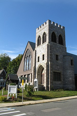 Unitarian Universalist Church of Medford and the Osgood House - Image: Unitarian Universalist Church and Parsonage, Medford MA