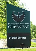 The sign for the University of Wisconsin-Green Bay near Green Bay, Wisconsin, USA.