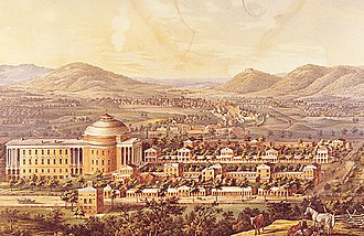 History of the University of Virginia - 1856 Lithograph of the Academical Village (Rotunda, Pavilions, and the Lawn)