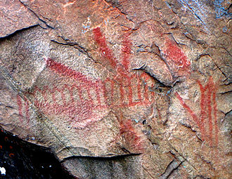Bon Echo Provincial Park - Some of the pictographs on Mazinaw Rock