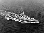 Nevada underway off of the Atlantic coast of the United States in 1944