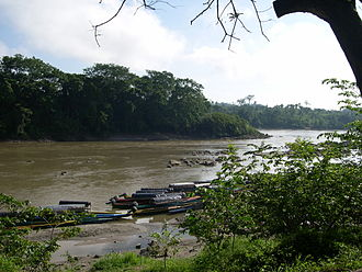 Guatemala–Mexico border - The Usumacinta River as viewed from Chiapas, Mexico. The far bank is Guatemala
