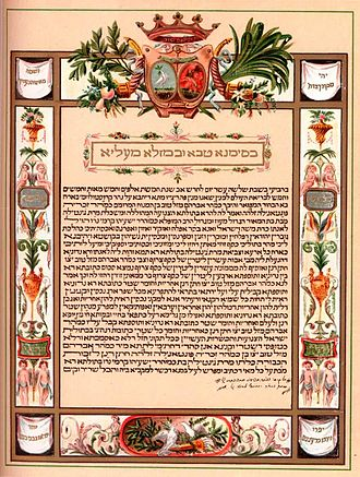Marriage law - A Ketubah in Aramaic, a Jewish marriage-contract outlining the duties of each partner