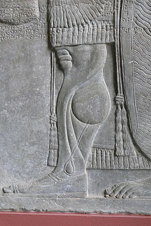 Assyrian sculpture - Detail of genie figure, palace of Ashurnasirpal II