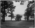VIEW OF GROUNDS AND HUDSON RIVER, LOOKING SOUTHWEST - Edgewater, Station Road, Barrytown, Dutchess County, NY HABS NY,14-BARTO.V,1-1.tif