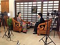 VOA Burmese Chief Than Lwin Htun interviews Myanmar opposition leader Aung San Suu Kyi in Naypyitaw, November 2014.jpg
