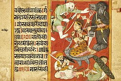 Vaishnavi and Varahi Fighting Asuras (Recto), Kumari Fighting Asuras (Verso), Folio from a Devimahatmya (Glory of the Goddess) LACMA M.81.280.4a.jpg