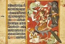 Vaishnavi and Varahi Fighting Asuras (Recto), Kumari Fighting Asuras (Verso), Folio from a Devimahatmya (Glory of the Goddess) LACMA M.81.280.4a.jpg
