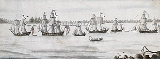 Battle of Valcour Island - Contemporary watercolor drawing of the British line of battle by Charles Randle. Title of the painting: His Majesty's Vessels on Lake Champlain commanded by Commodore Thomas Pringle, R.N., including the ships Carleton, Inflexible, Maria, Convert, Thunderer, as well as a long boat and some gun boats.