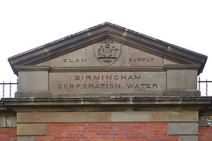 "Birmingham Corporation Water Department - Pediment of Elan Aqueduct valve house with ""Birmingham Corporation Water"" wording"
