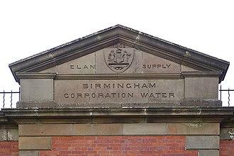 "Elan aqueduct - Pediment of valve house with ""Birmingham Corporation Water"" wording"