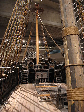 Deck (ship) - Weather deck of the Swedish 17th-century warship Vasa looking aft toward the sterncastle