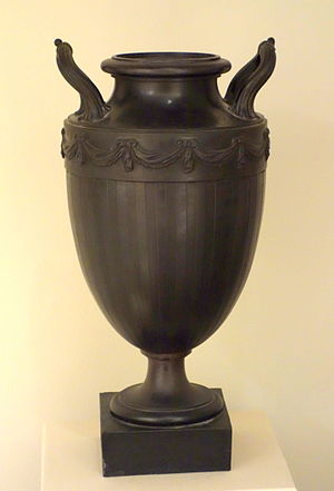 Josiah Wedgwood - Vase on Stand with Inverted Neck, Josiah Wedgwood and Sons and Thomas Bentley, before 1780, black basalt - Chazen Museum of Art